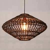 Southeast Asia Vintage Country Chinese Style Bamboo Wicker Rattan Pendant Lamp Restaurant Teahouse Home Decor Lighting Fixture