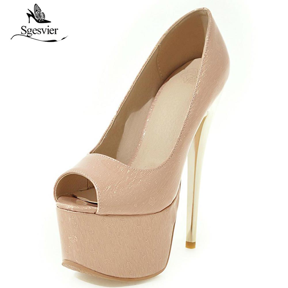 SGESVIER Platform Pumps Women Sexy Extremely Thin High Heels Shoes Bridal Stiletto Peep Toe Ladies Wedding Party Shoes OX339 aiweiyi women high heels peep toe thin heels slip on platform pumps sexy party high heel pumps black red ladies wedding shoes