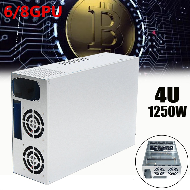 1250W 4U Crypto Coin Open Air Mining Server Frame Rig Graphics Case For 6/8GPU New compu ...