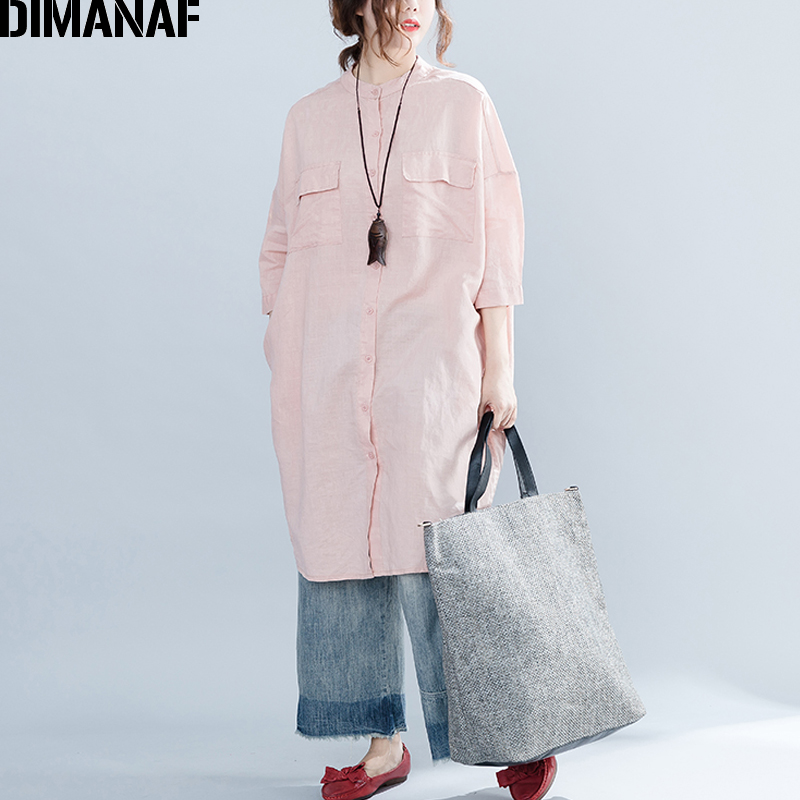 DIMANAF Women   Blouse     Shirt   Long Cardigan Linen Pink Autumn Femme Basic Tops Plus Size Loose Office Lady Large Batwing Vintage