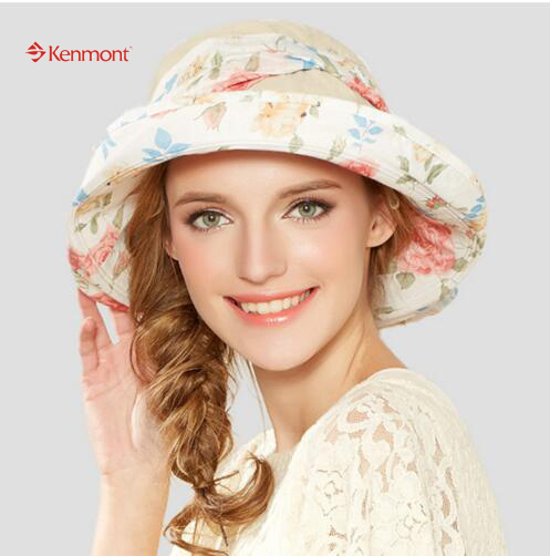 6058a23a4521d Kenmont Summer Women Bucket Hat Chapeau Fashion Wide Brim Sun Protection  Printed Floral Hat Sunbonnet Beach Cap Bowknot 0382-in Sun Hats from Women s  ...