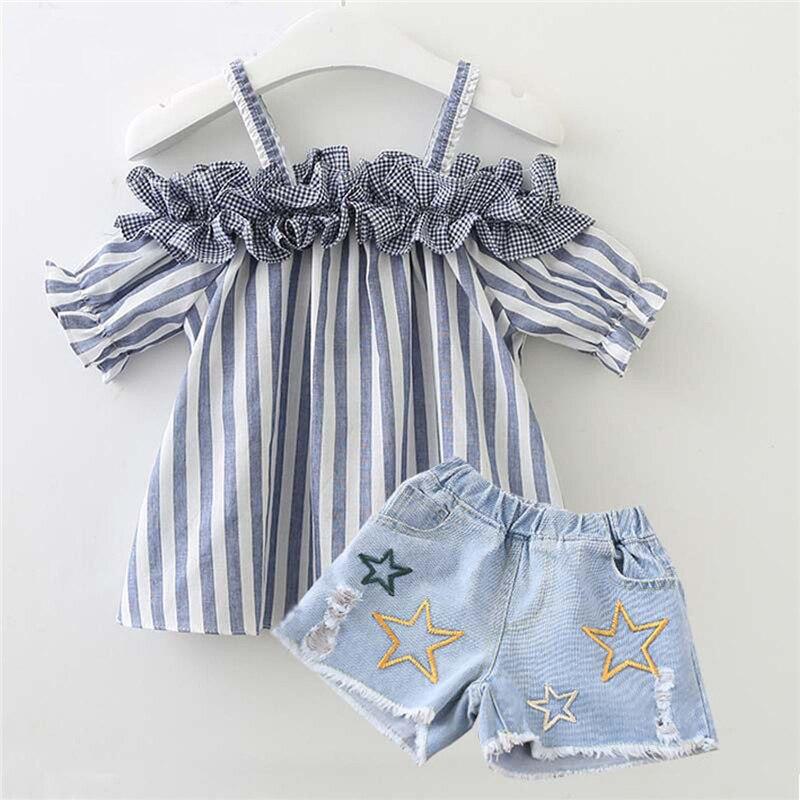 Summer Short Sleeve Stripe Floral Tops Bottom Denim Shorts Girl Clothing Cotton Outfits 2PCs Newborn Baby Girls Clothes Set 2-6T