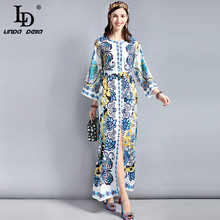LD LINDA DELLA New Fashion Runway Plus size Maxi Dress Women's Loose Flare sleeve High Split Belted Printed Vintage Long Dress retro buttoned high waisted belted flare dress