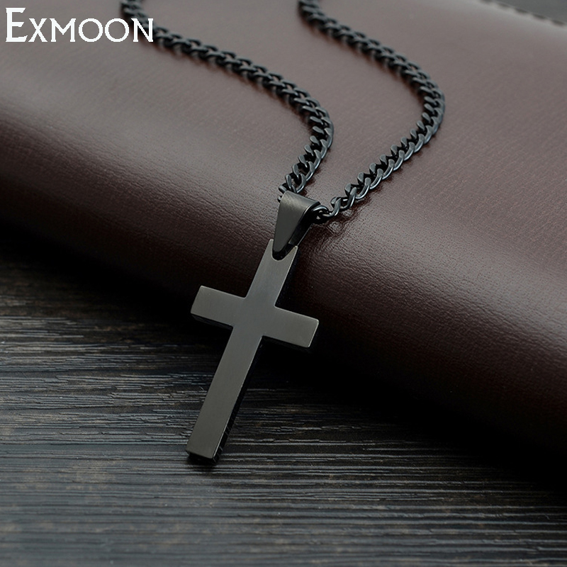 Male Black Cross Necklace Men Titanium Stainless Steel Chain Link Vintage Punk Cross Jesus Necklaces&Pendants Party Crux Jewelry stylish pu leather chain titanium steel pendant punk necklace silver black
