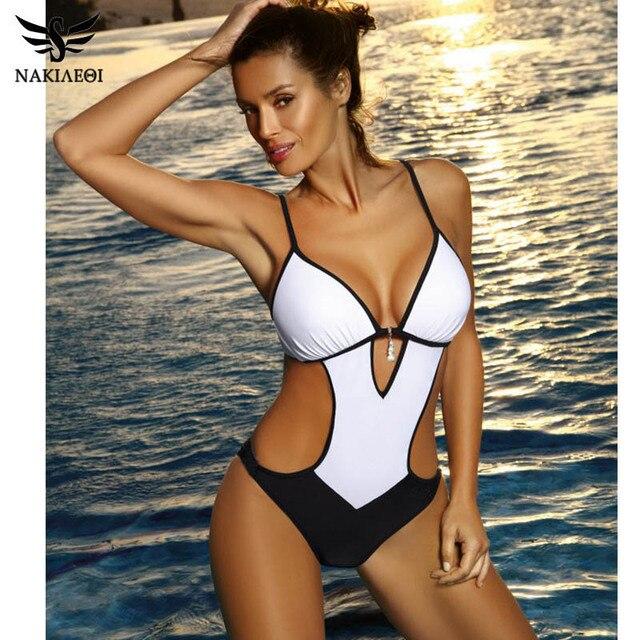 a5db2f3d080f82 NAKIAEOI Sexy stringi jednoczęściowy strój kąpielowy 2019 Plus rozmiar stroje  kąpielowe damskie kostium kąpielowy strój kąpielowy