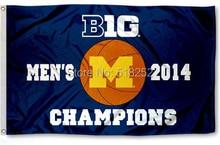 University of Michigan 2014 Big Flag 3×5 FT 150X90CM NCAA Banner 100D Polyester Custom flag grommets, free shipping