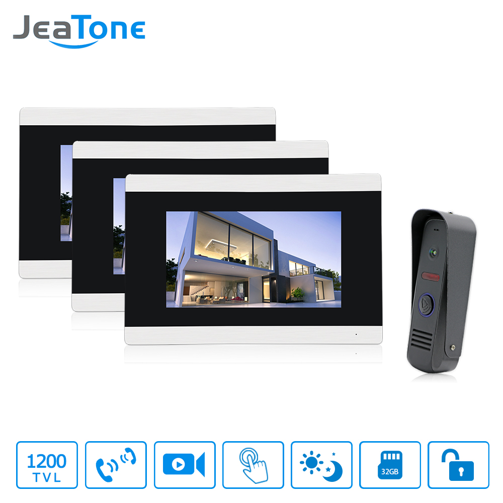 Jeatone 7  Touch-Screen TFT LCD Monitor Video Door phone Intercom System With Night Vision HD Outdoor Camera for Home Security 7inch video door phone intercom system for 10apartment tft lcd screen 10 flat indoor monitor night vision cmos outdoor camera