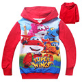 2016 Baby girls Superwings coat Hooded fur Sweater Winter Warm Jacket Children outerwear kids clotheswholesale 4pcs/lot