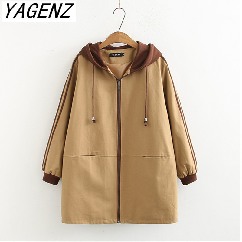 Female Windbreaker Coat 2019 fashion Spring Loose Hooded Overcoat Large size 4XL Casual Women's   Trench   Coat Boutique Clothing