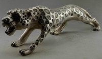 Collectible Decorated Old Tibet Silver Carved Big Leopard Statue Garden Decoration 100% real Brass BRASS
