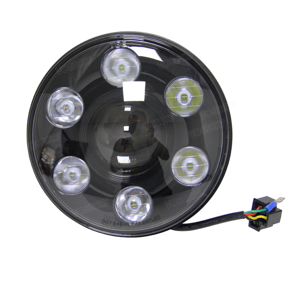 VOSICKY 7 inch 105w Round LED Headlight with DRL High Low Beam Led Chip for Jeep Wrangler JK/TJ/LJ/CJ Hummer Harley 7inch 75w round led headlight 7500lm hi low beam head light with bulb drl for wrangler tj lj jk cj 7 cj 8 scrambler harley