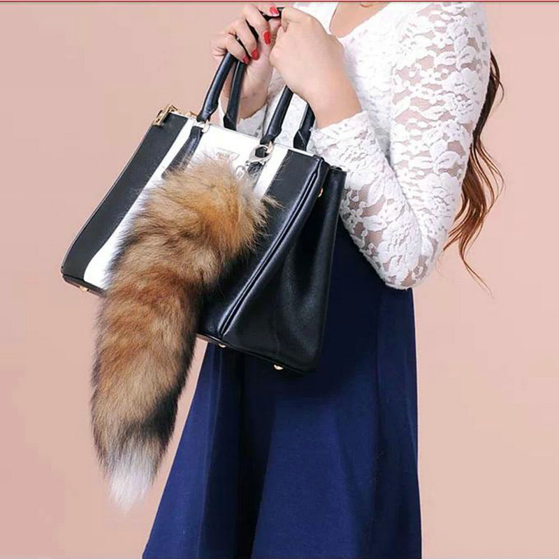 6f376c6ffd18 Large Fox Tail Fur Tassel Bag Tag Keychain Strap Chain Faux Fur Plush Car  Key Chain Ring Pendant For Bag Gift-in Party Favors from Home   Garden on  ...