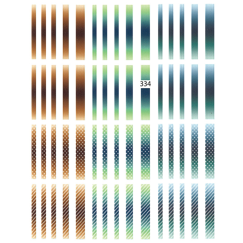 Image 2 - 1 sheet Gradient Striped Colorful Lines 3D Nail Art Sticker Adhesive Decal Japanese Nail Accessories for Nail Decorations 2019-in Stickers & Decals from Beauty & Health