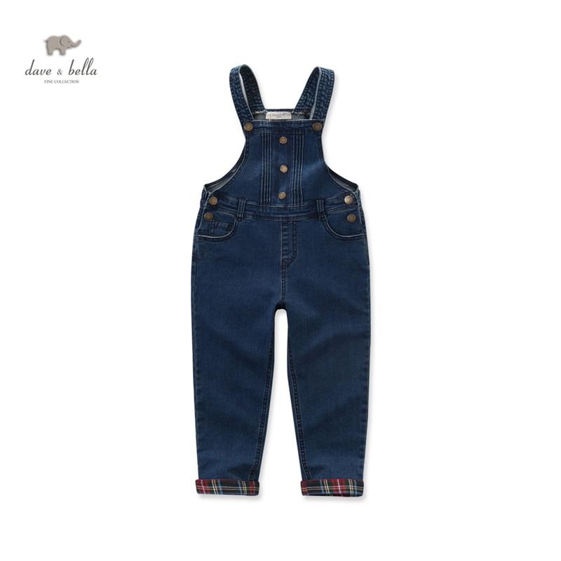 DK0451 dave bella baby boys denim blue overalls kids overalls