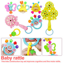 7Pcs/Set Bell Rattle Gift Toy Cute Baby Rattles Teething Grab Spin Shaking Newborn Toddler Molar Toy Hand Shake Bell Ring cute cow pattern baby hand bell blue green