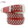2016 New Fashion Rhinestone Belts for Women Luxury Designer Genuine Leather Belt High Quality Cow Second Layer Skin Strap Female