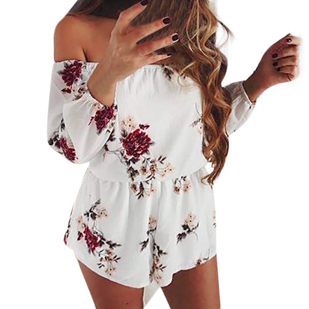 Elegant Women jumpsuits  sexy Off Shoulder Belt Backless Sexy rompers womens jumpsuit Floral  Print Jumpsuit combinaison short
