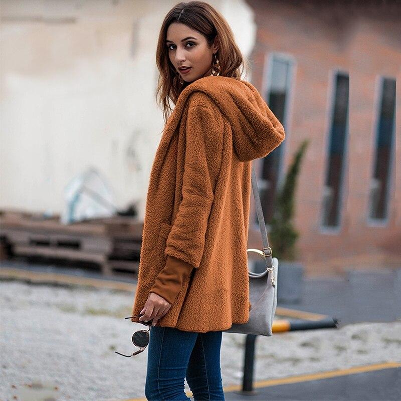 Hooded Sweater Long-Cardigan Fleece Plus-Size Coat Pull Thin Autumn Winter Women