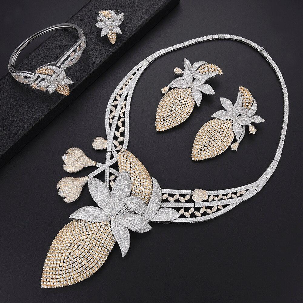 Luxury Narcissus african jewelry set Dubai Bridal Necklace Earrings Sets Bangle Ring Fashion Jewelry For Women bijoux femmeLuxury Narcissus african jewelry set Dubai Bridal Necklace Earrings Sets Bangle Ring Fashion Jewelry For Women bijoux femme
