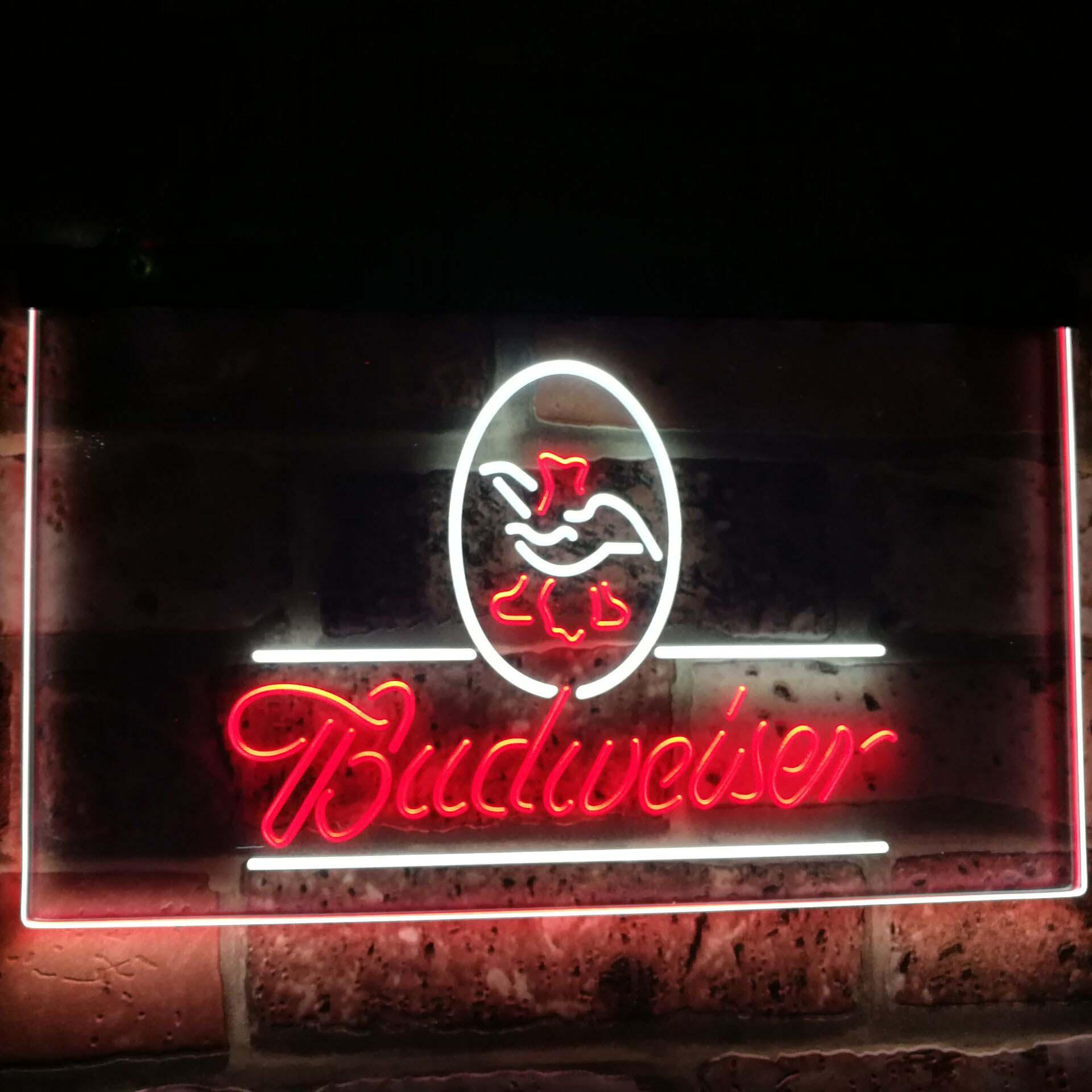 Budweiser aigle nous bière société Bar décor double couleur Led néon signes st6-a2008