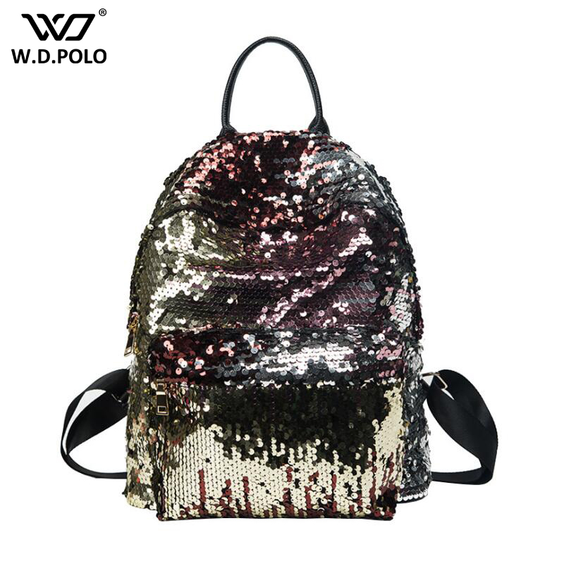 WDPOLO NEW bling sequins design women backpack super chic lady shoulder bags stylish shiny book bags for girls travel bags C242