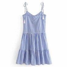 TXJRH Sweet Bohemian Striped Print V-Neck Spaghetti Strap Tassel Single-breasted A-Line Dress Backless Beach Vestidos 2 Colors