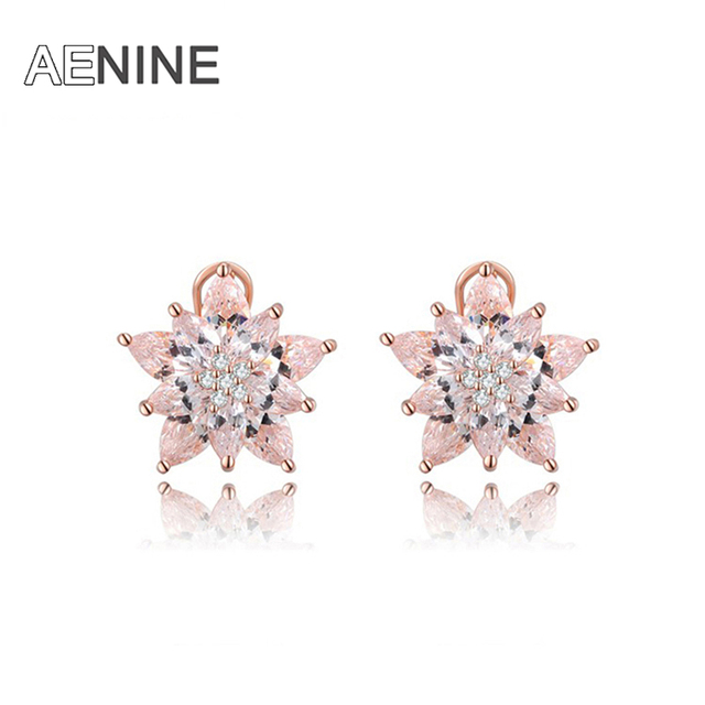 AENINE Luxury Jewelry Rose Gold/White Gold Plated AAA CZ White Stone Stud Earrings For Women Gift Party Wedding 1021151