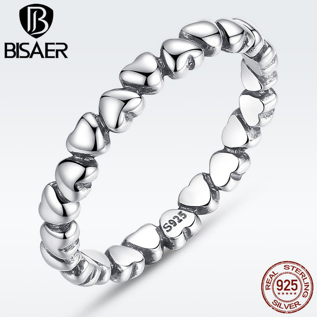 BISAER 925 Sterling Silver LOVE Heart Wedding Ring Jewelry Crystal Silver 925 Or