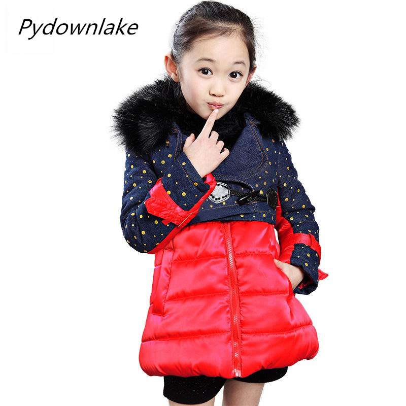 2017 girls clothes new winter girl fur collar polka dot jeans patchwork coat children sets snow wear cotton jacket