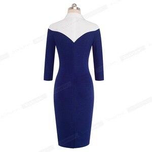 Image 4 - 素敵な永遠のヴィンテージコントラスト色パッチワークターンダウン襟着用して作業する vestidos オフィスビジネス女性ボディコンドレス b420
