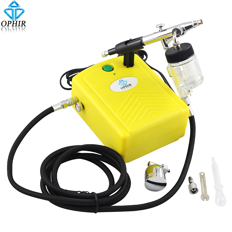 OPHIR 0.3mm Airbrush Spray Paint Gun with Air Compressor for Model Hobby Body Tattoo Car Painting Nail Art _AC034+AC005+AC011 graceful multi layered parrot shape friendship bracelet for women