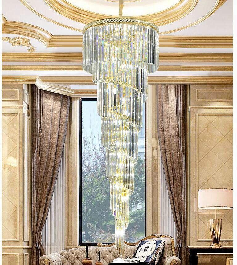 Envío libre D550mm H1800mm oro moderno hotel Crystal chandelier lámpara colgante bombilla led Hotel AC 100% garantizado