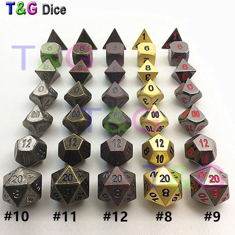 Hot New High Quality Vintge Metal 7 Dice set d4 d6 d8 d10 d% d12 d20 for dnd with box as gift