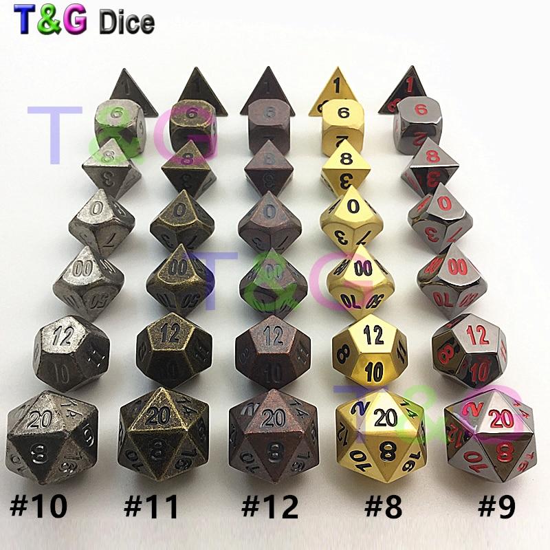 Hot Baru Kualitas Tinggi Vintge Dadu Logam 7 Dadu set d4 d6 d8 d10 d% d12 d20 untuk Logam dnd dengan kotak untuk hadiah