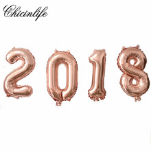 "Chicinlife 4pcs Rose Gold 16inch Number ""2018"" Balloon Banner Foil Ballon Happy New Year Party Decoration Celebration Supplies"