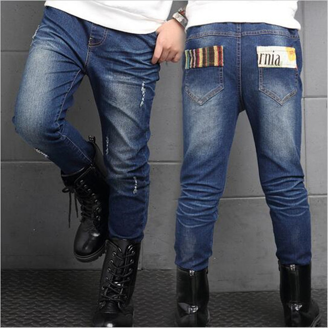 Hole jeans girl fall high quality children's jeans pants children asthma teenage children, kids ripped jeans+kids jeans+boys jea