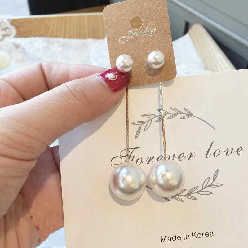 MENGJIQIAO 2019 nuevo coreano Simple grande imitación perlas gota pendientes para mujeres elegante fiesta oreja joyería moda Brincos