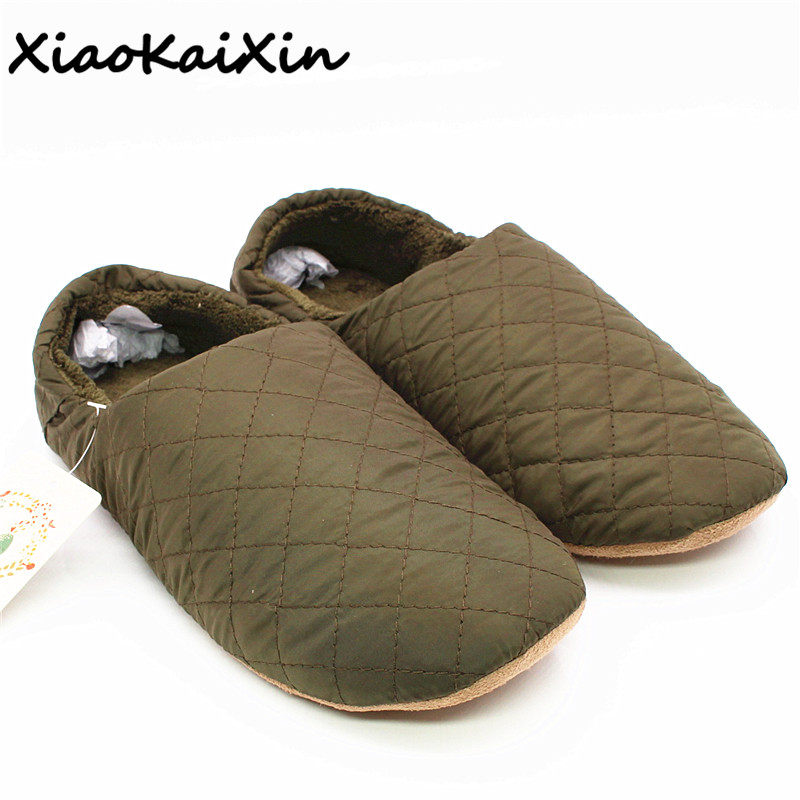 цена на XiaoKaiXin Winter simple Japanese style slippers for Men/Women/Children Solid Sewing Nylon Indoor Floor Warm Plush Home Slippers