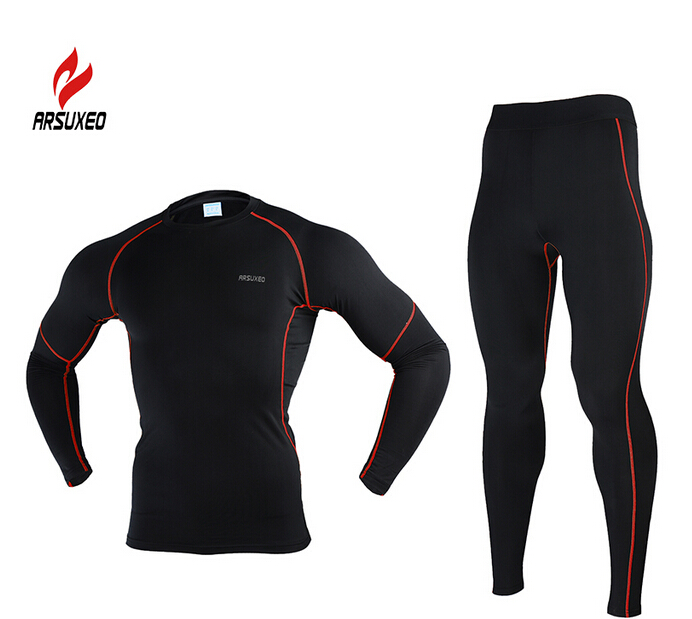 ARSUXEO Winter Thermal Warm Up Fleece Compression MTB Bike Cycling Base Layers Shirts Running Jersey Sports