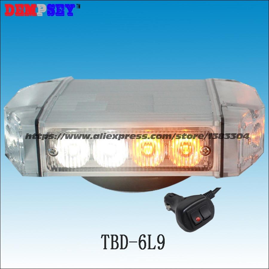 Free shipping!TBD-6L9 High quality amber&white LED mini lightbar,emergency light,Car Flashing warning light,cigar light switch