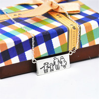 Engraved Drawing Pendent Solid Silver Bar Hand Stamp Picture Outline Personalized Memory Jewelry