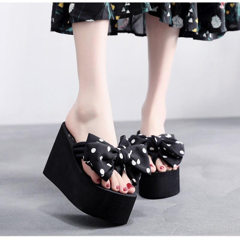 AShwin summer sandals women high heels chiffon bow super high flip flops beach shoes thong slippers Innrech Market.com