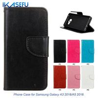 IKASEFU Business Style Leather Silicone Case for Samsung Galaxy A3 2016 A5 2016 Stand Wallet Flip Case for Galaxy A3100 A5100