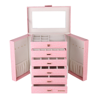 Large Jewelry Box Watch Case Girls Organizer Necklaces Earrings Rings Jewellery Pink Armoire Storage Leather Mirror Holder Gifts