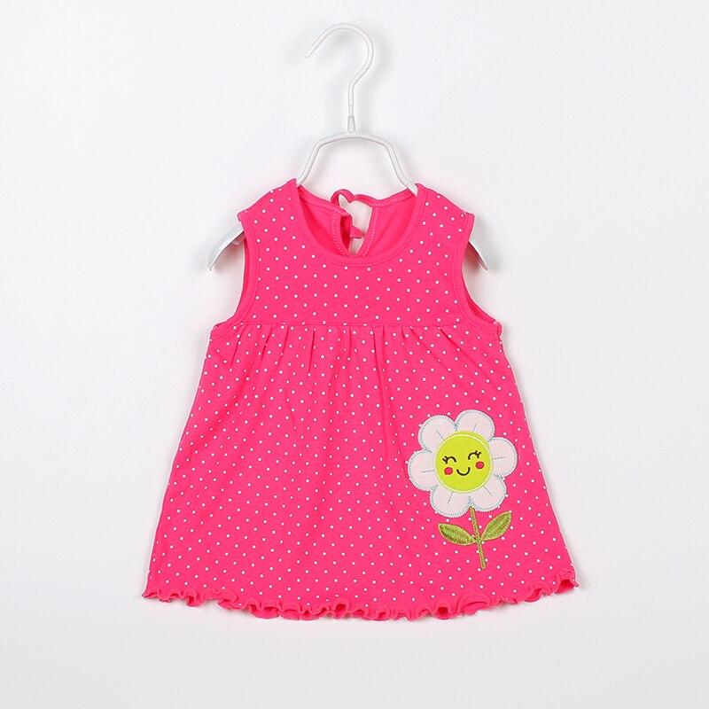 Flower Polka Baby Dresses For Girls Cotton Sleeveless Summer Dresses Newborn Baby Dress Fashion Cartoon Baby Girls Clothing 2018