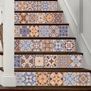 Image 4 - 6pcs Classic Design Tile Stair Risers Stickers Set Staircase Decals Removable Waterproof Mural Wallpaper for Home Decoration