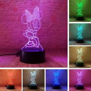 Мультяшный светящийся ночник для девочек с Микки и Минни Маус, 3D светодиодный светильник, 7 меняющихся цветов, настольная лампа, декор для сп...