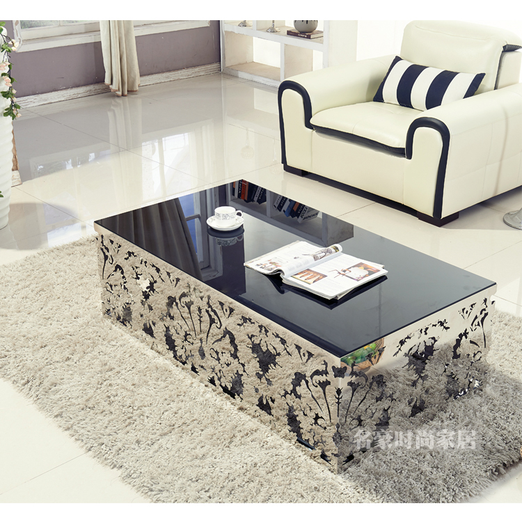 cheap stainless steel hollow rectangular glass coffee table 2015 fashion size marble tea. Black Bedroom Furniture Sets. Home Design Ideas