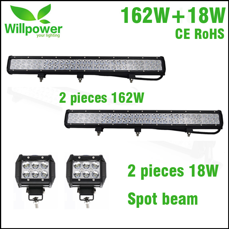 4 inch 18w SPOT BEAM led work light with 2 pack 25 inch combo beam 162W offroad light bar LED