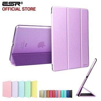 Case for  mini 1 2 3, ESR Tri-fold smart cover Color Ultra Slim PU Leather Transparent Back Case for  mini 1 2 3